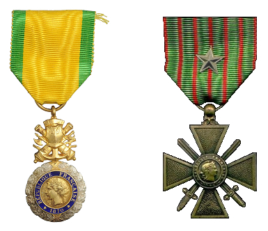 Médaille militaire 1870 et Croix de Guerre étoile d'argent